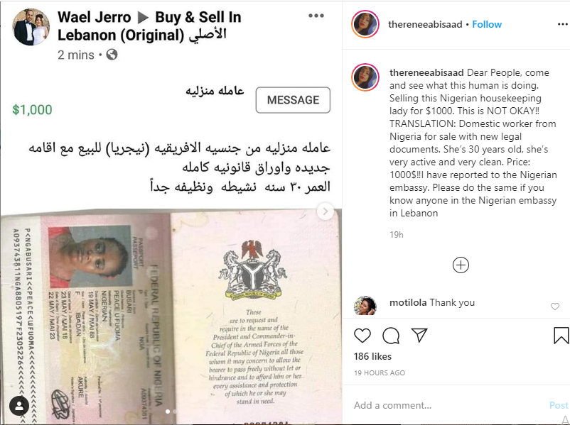 Lebanese national allegedly puts up a Nigerian lady for sale on Facebook 1