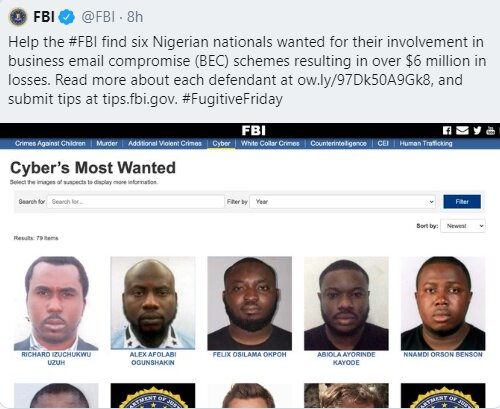 Nigerians castigate FBI for only posting 6 Nigerians on the wanted list when there are more numbers of suspects from other nationality 1