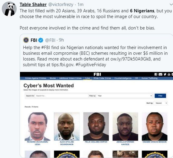 Nigerians castigate FBI for only posting 6 Nigerians on the wanted list when there are more numbers of suspects from other nationality 3