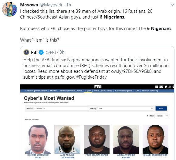 Nigerians castigate FBI for only posting 6 Nigerians on the wanted list when there are more numbers of suspects from other nationality 4