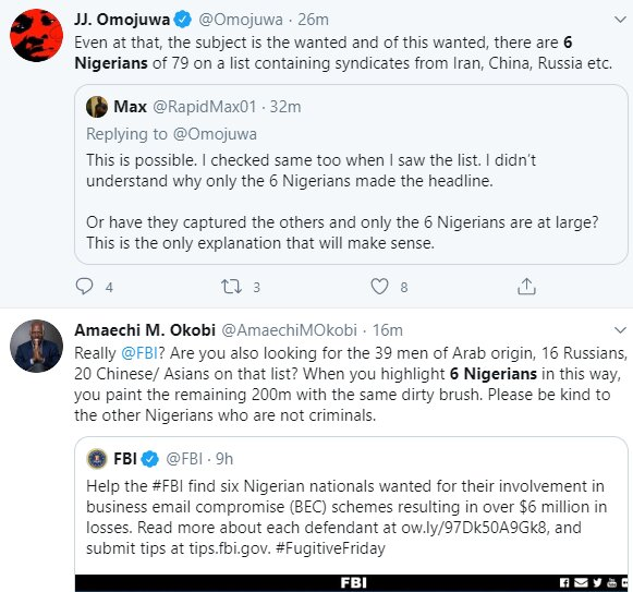 Nigerians castigate FBI for only posting 6 Nigerians on the wanted list when there are more numbers of suspects from other nationality 5